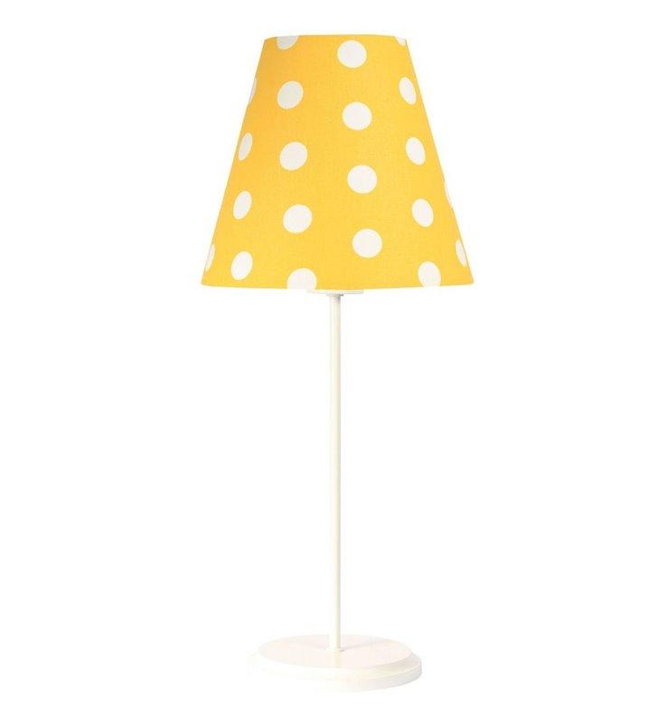 Sunflower dziecięca lampka stołowa z białą podstawą żółty abażur w białe grochy - DOSTĘPNA OD RĘKI