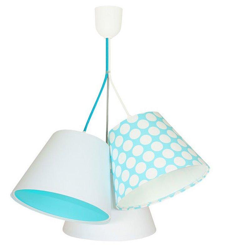 Lampa wisząca Arielka dziecięca 3 tekstylne abażury biało niebieska groszki