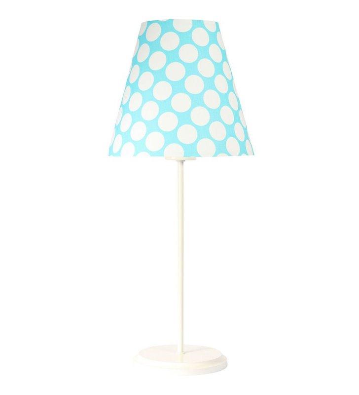 Lampa stołowa Arielka niebieski abażur w groszki