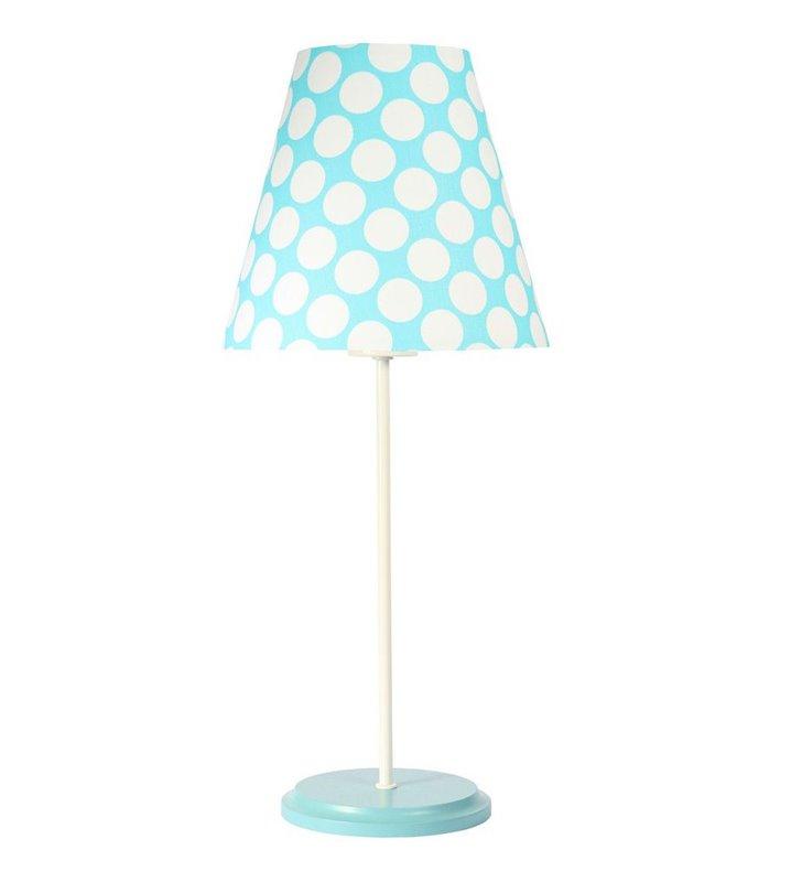 Dziecięca lampka nocna stołowa Arielka niebieski abażur w groszki podstawa biało seledynowa