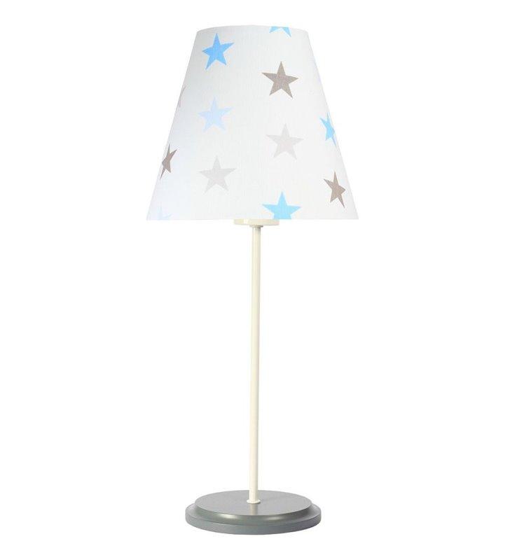 Lampka nocna do pokoju dziecka Atena biało szara podstawa abażur w jasne gwiazdki