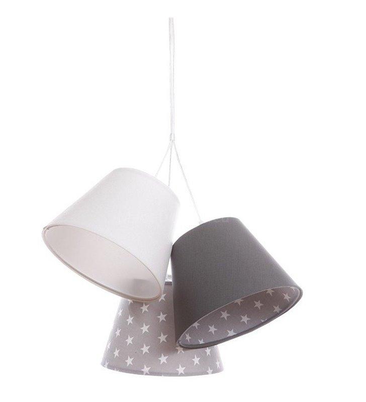 Lampa wisząca Szarotka 3 abażury biało szara gwiazdki