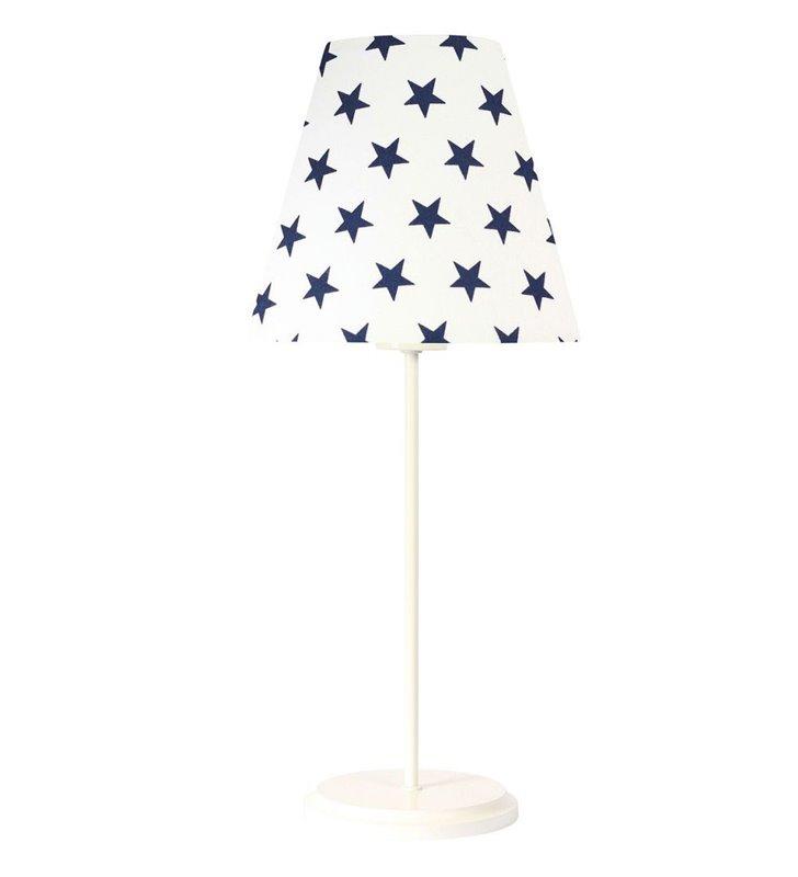 Lampa stołowa Aurora dziecięca biała abażur materiałowy w granatowe gwiazdki