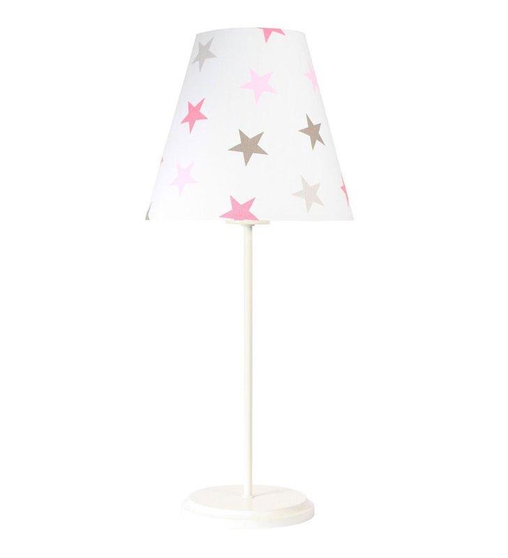 Jasna dziewczęca lampka nocna Rozalka abażur w gwiazdki