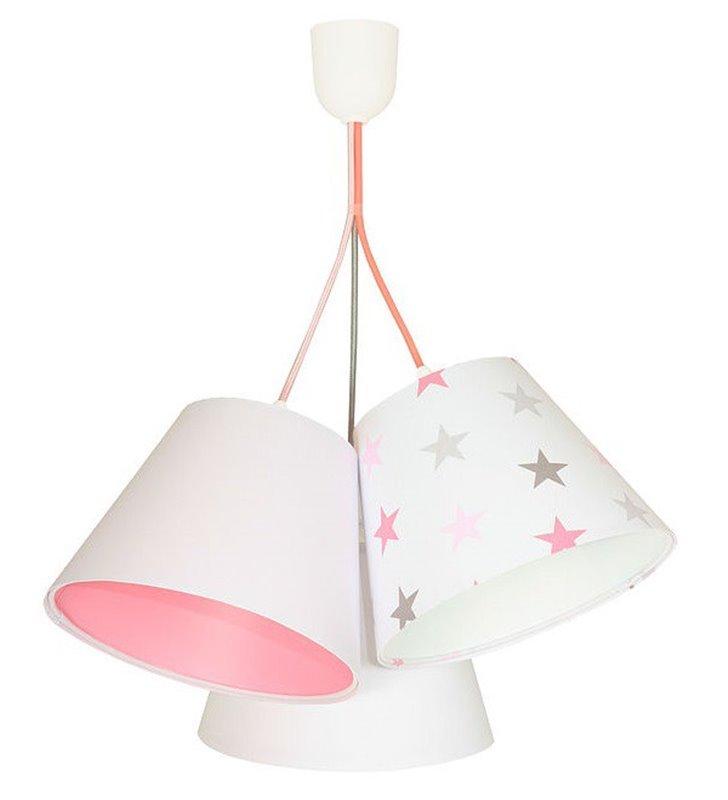 Jasna potrójna lampa wisząca do pokoju dziewczynki Rozalka gwiazdki