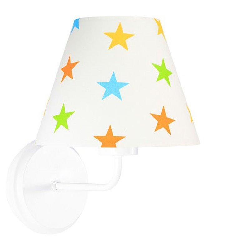 Kinkiet Antek biały w kolorowe gwiazdki do pokoju dziecka