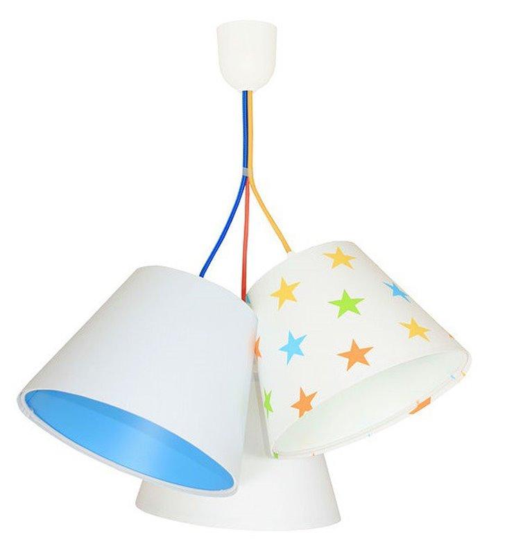 Wielokolorowa potrójna lampa wisząca Antek do pokoju dziecka