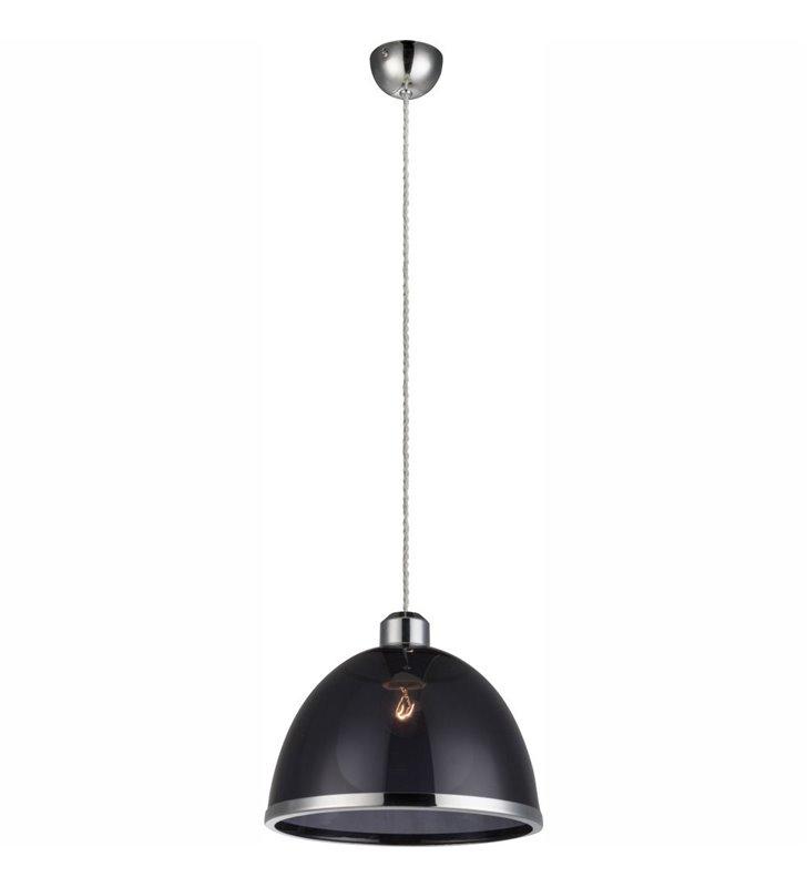 Akrylowa lampa wisząca w kolorze czarnym transparentnym Carlo średnica 23cm - OD RĘKI