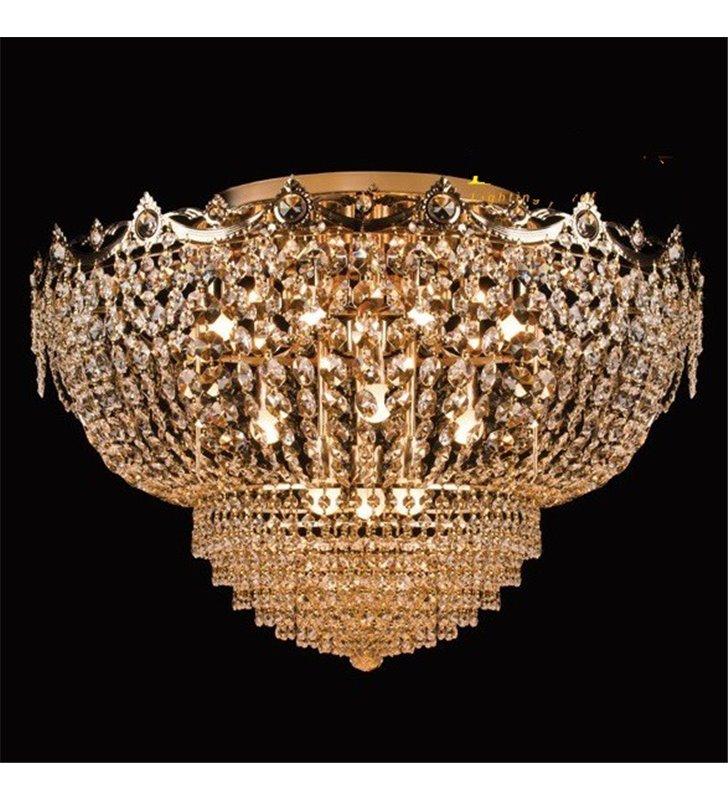 Elegancki stylowy duży złoty plafon kryształowy Marocco 800 do dużych pomieszczeń salonu sypialni restauracji hotelu 15 żarówek