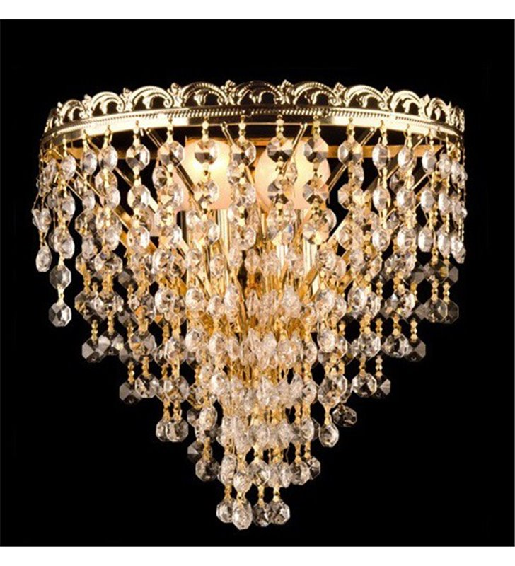 Klasyczny złoty kinkiet z bezbarwnymi kryształami Marocco