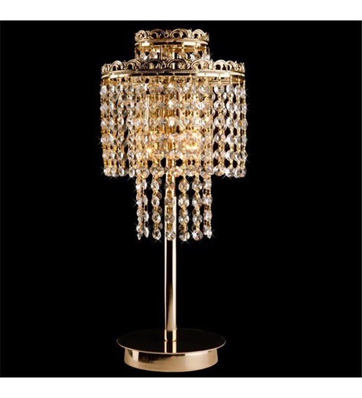 Stylowa złota lampa stołowa z kryształami Marocco dekoracyjny stelaż