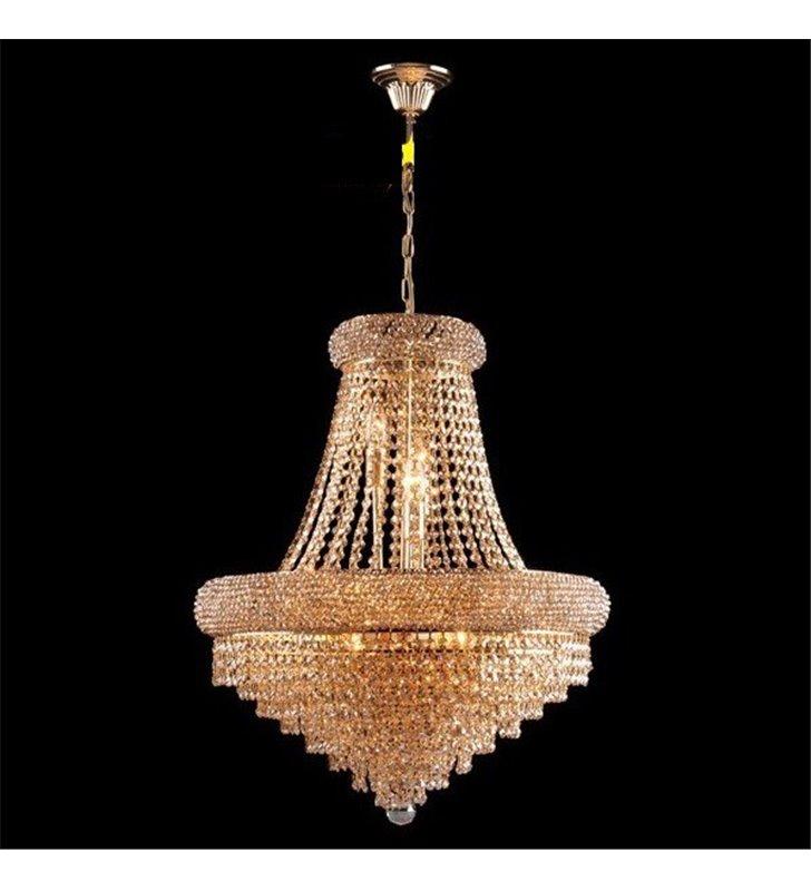 Klasyczny złoty żyrandol z kryształami Aurora do salonu jadalni nad stół do sypialni średnica 56cm