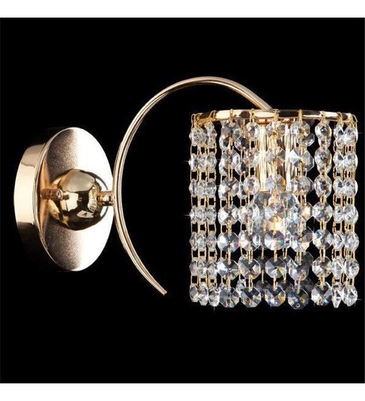 Złoty kinkiet kryształowy Plaza klosz z drobnych kryształów