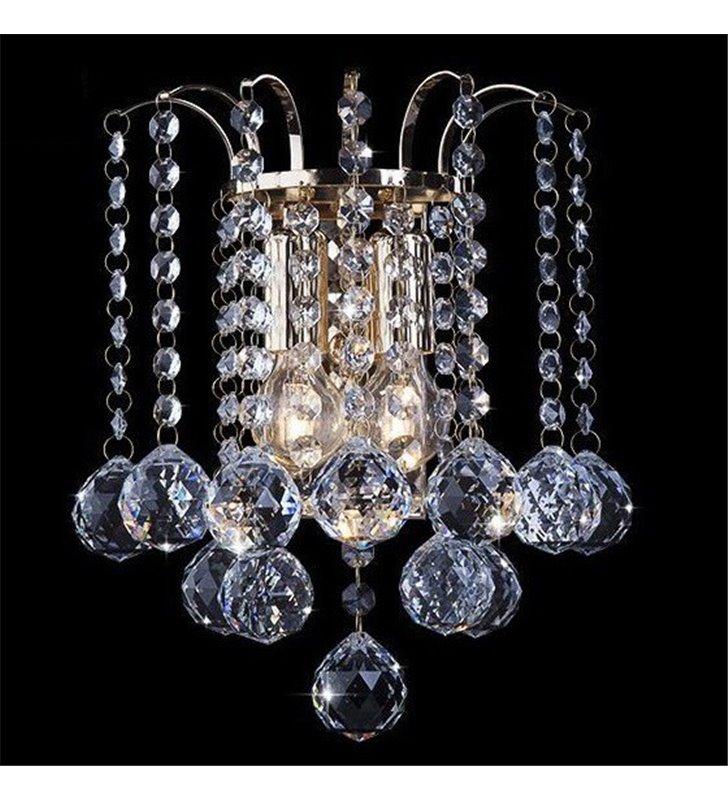 Kinkiet Luccy złoty z bezbarwnymi kryształami