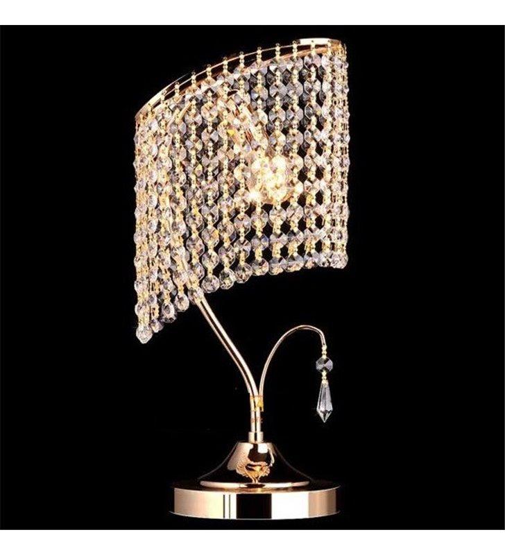 Lampa stołowa Verde złota kryształowa