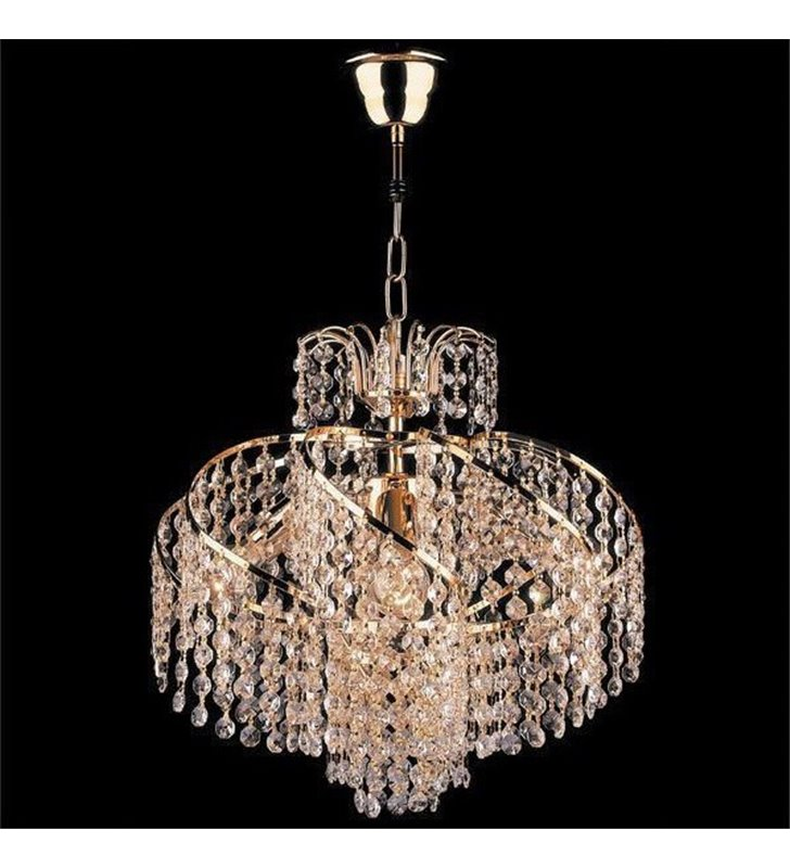 Lampa wisząca Swing złota z drobnymi kryształkami