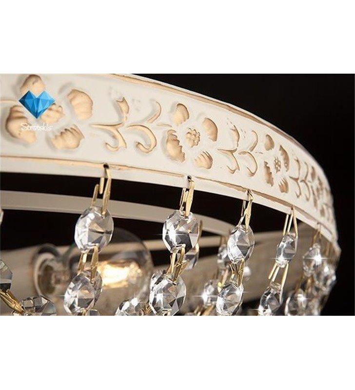 Plafon Wersal 500 kryształowy w kolorze antycznej bieli ze złoceniami do pomieszczeń w stylu klasycznym