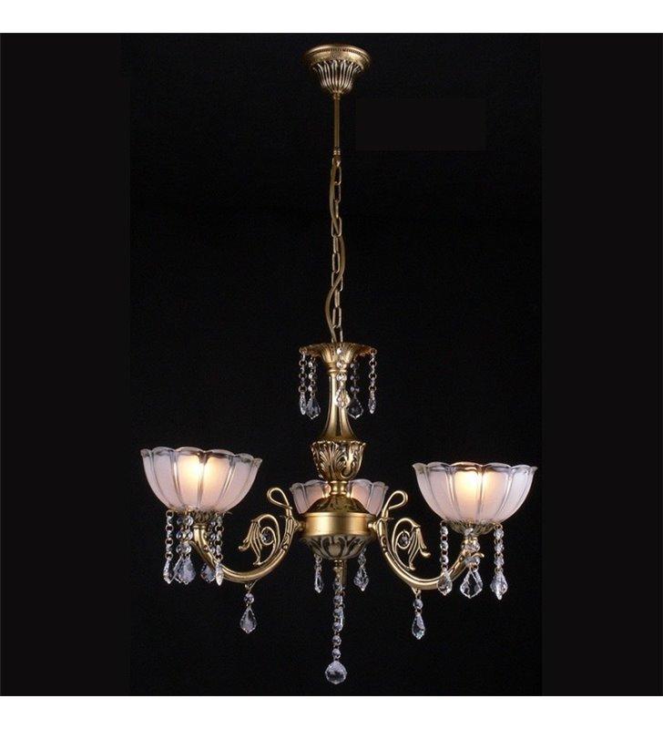 Żyrandol Barcelona 3 szklane klosze skierowane w górę klasyczny z kryształami