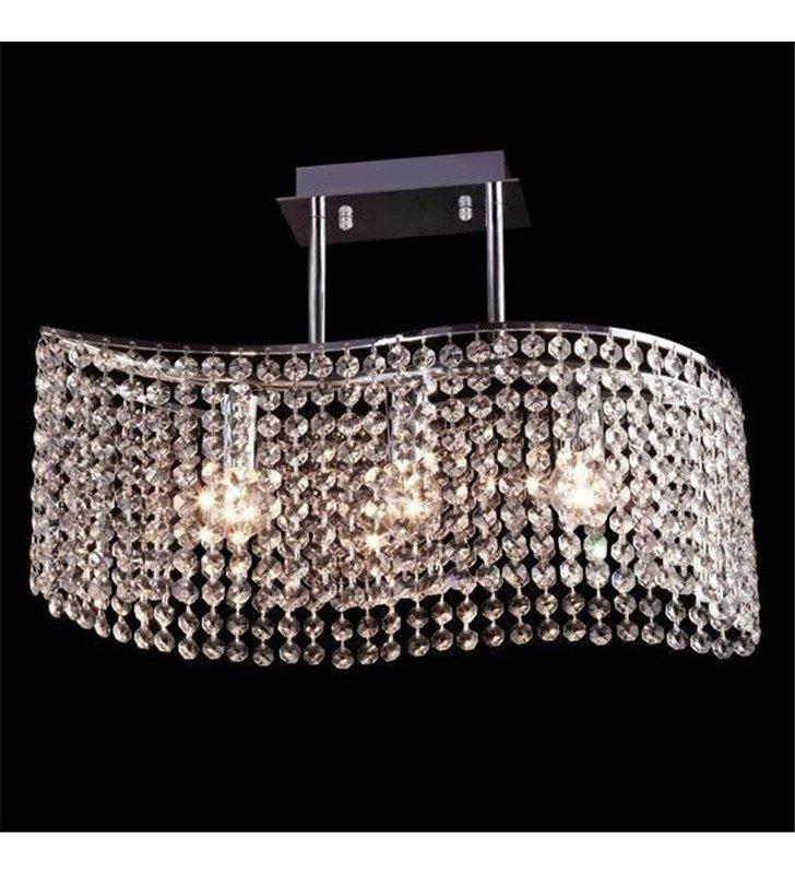 Chromowana kryształowa lampa sufitowa Ross 3 żarówki do salonu sypialni jadalni na korytarz