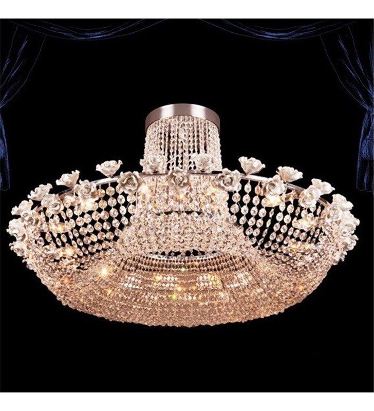 Lampa sufitowa żyrandol California kryształowa porcelanowe różyczki ponad metr średnicy do salonu jadalni restauracji hotelu