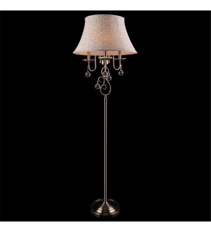 Lampa podłogowa Bristol w kolorze patyny 3 żarówki abażur kryształki klasyczny styl