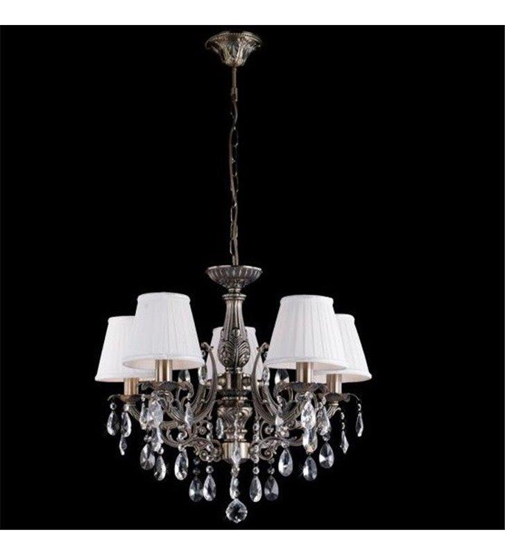 Żyrandol Sevilla klasyczny mosiądz antyczny abażury kryształy do salonu jadalni sypialni