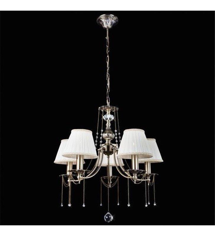 Żyrandol Laurent 5 płomienny klasyczny z ozdobnymi łańcuszkami mosiądz antyczny kremowe abażury