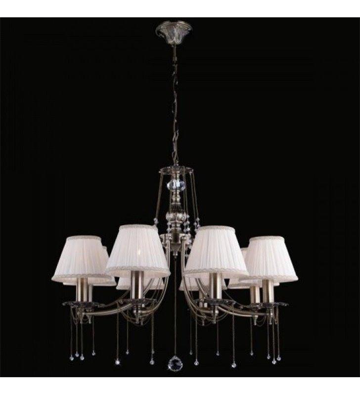 8 ramienny klasyczny żyrandol Laurent mosiądz antyczny kremowe abażury dekoracyjne łańcuszki