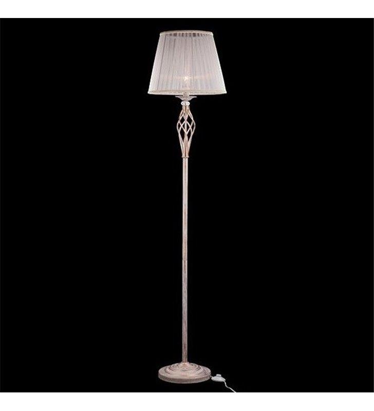 Klasyczna lampa podłogowa w stylu prawansalskim Iris biała ze złotymi przetarciami biały abażur