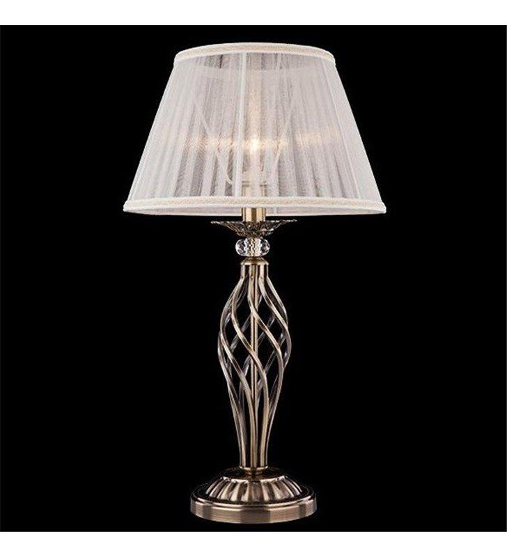 Klasyczna lampa stołowa Iris mosiądz antyczny abażur tekstylny w kolorze słomkowym