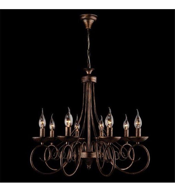 Czarno złoty 8 ramienny żyrandol świecznikowy Samanta do wnętrz klasycznych i nowoczesnych