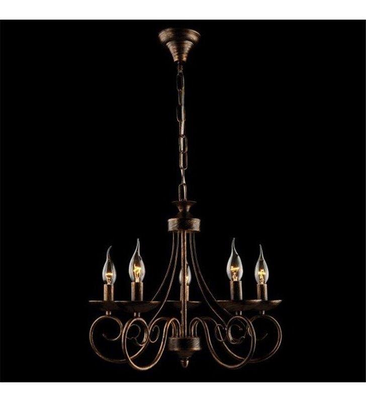 Żyrandol Samanta 5 punktowy świecznikowy czarny ze złotymi przetarciami do wnętrz w stylu klasycznym i nowoczesnym