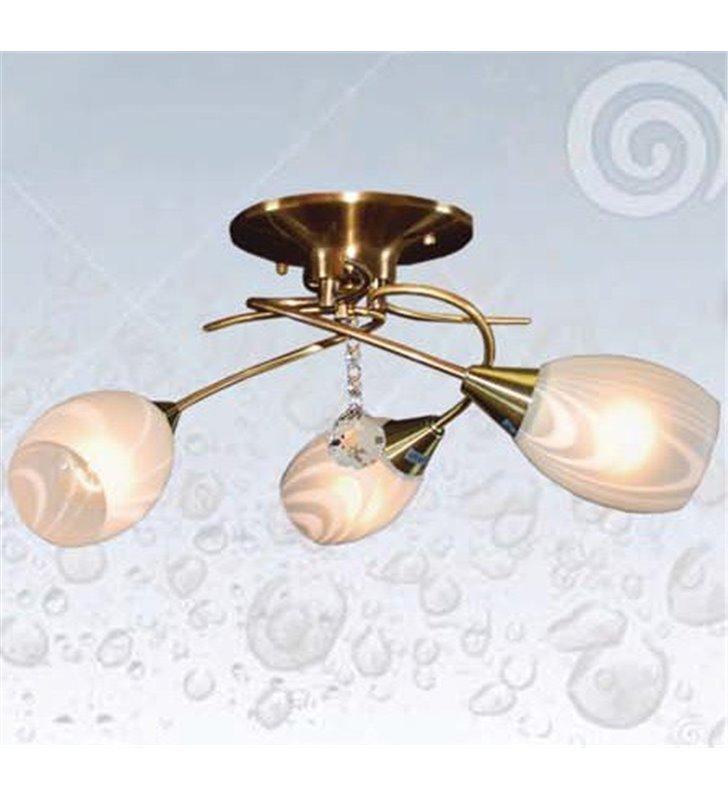 Lampa sufitowa Antic potrójna mosiądz antyczny szklane klosze