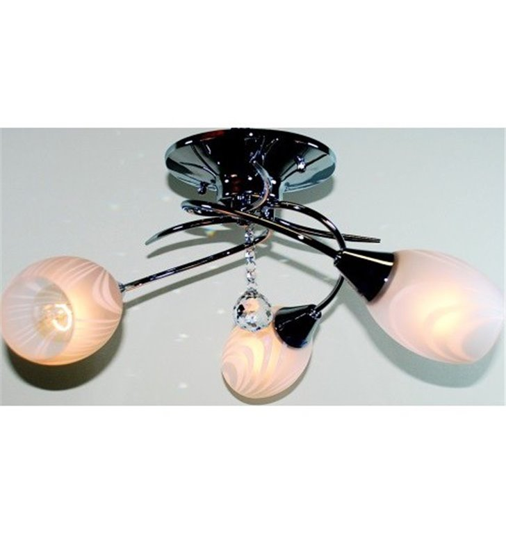 Chromowana 3 płomienna lampa sufitowa Antic