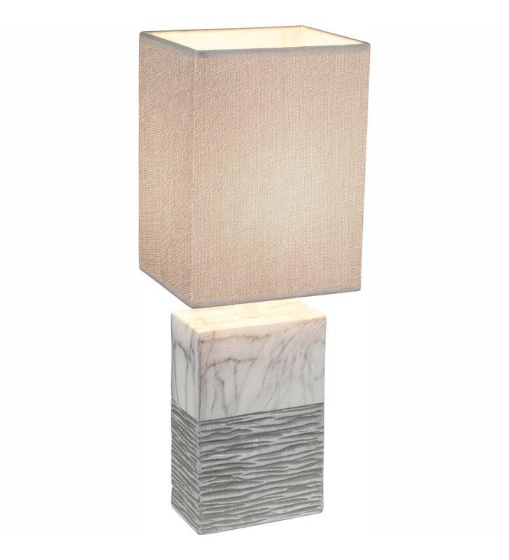 Nowoczesna lampa stołowa Jeremy ceramiczna prostokątna podstawa imitująca marmur abażur szary