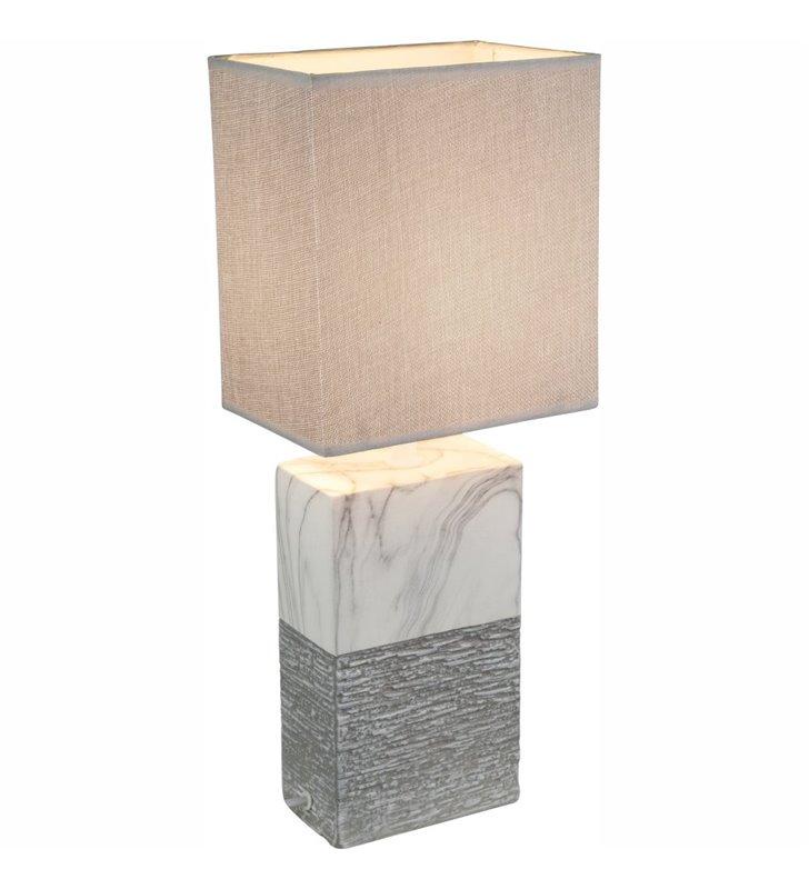 Lampa stołowa Jeremy podstawa z ceramiki jak marmur prostokątna szary abażur