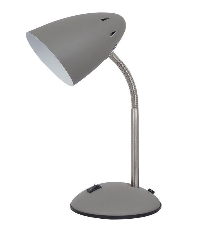 Nieduża szara lampka na biurko z regulacją ramienia flexo Cosmic włącznik na podstawie