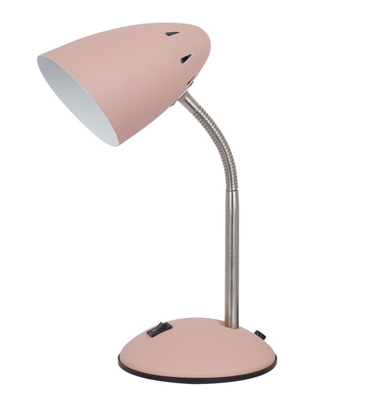 Metalowa nieduża lampka biurkowa Cosmic różowa włącznik na podstawie giętkie ramię flexo