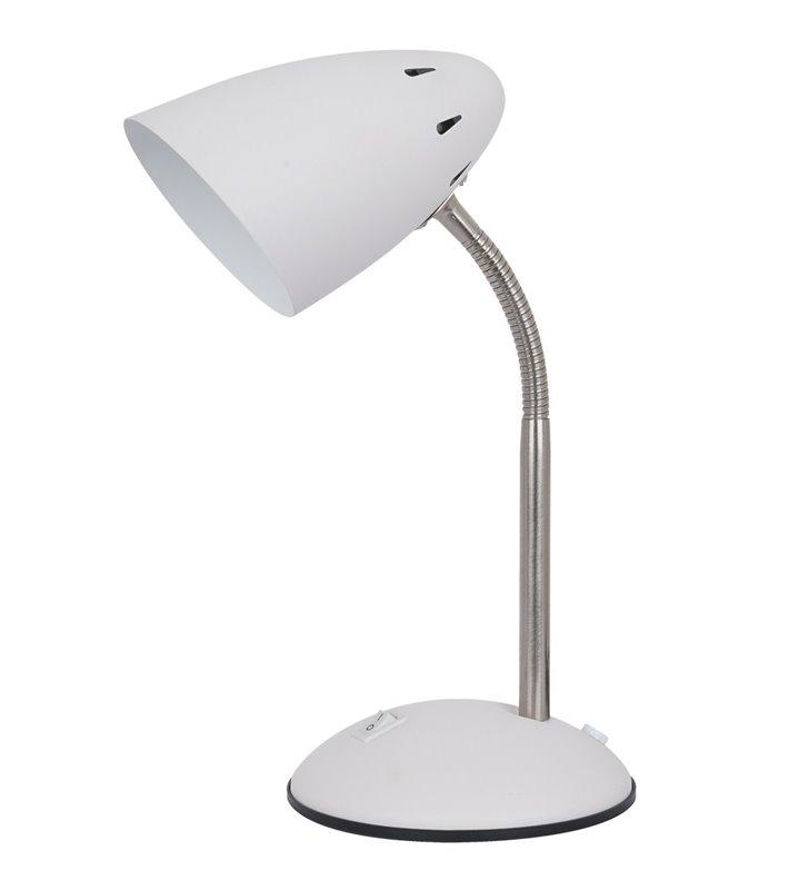 Metalowa biała lampka na biurko Cosmic włącznik na podstawie giętkie ramię