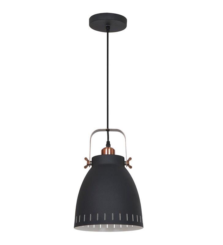 Lampa wisząca Franklin pojedyncza czarna z miedzianymi detalami styl vintage