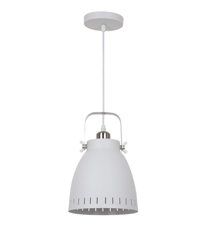 Lampa wisząca Franklin biała metalowa z detalami w kolorze niklu do salonu sypialni jadalni styl vintage