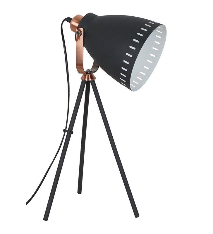 Lampa stołowa Franklin czarna z miedzianymi detalami trójnóg styl vintage