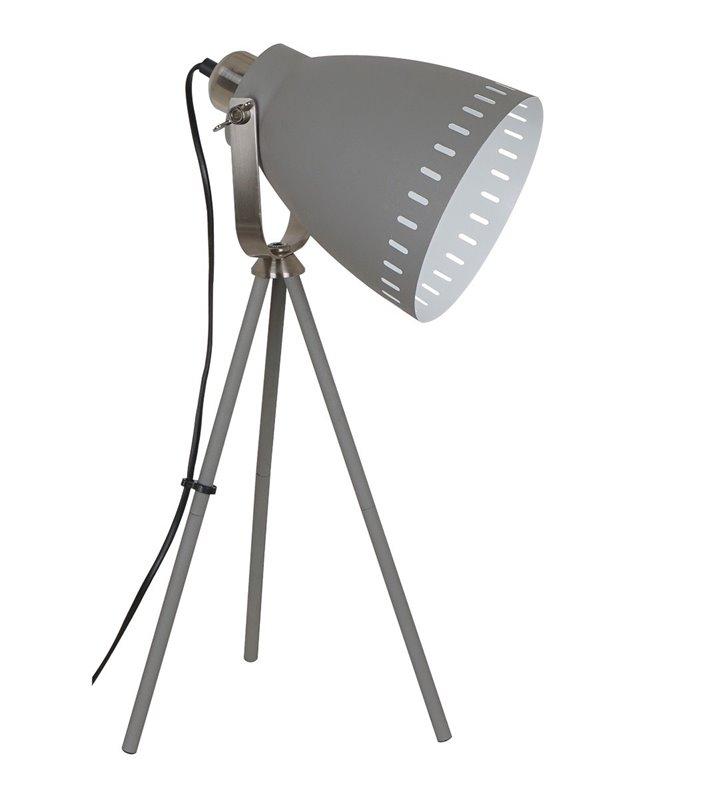 Lampa stołowa na trzech nogach Franklin szara metalowa