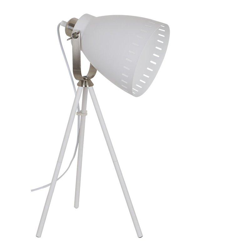 Lampa stołowa Franklin biała trójnóg styl vintage