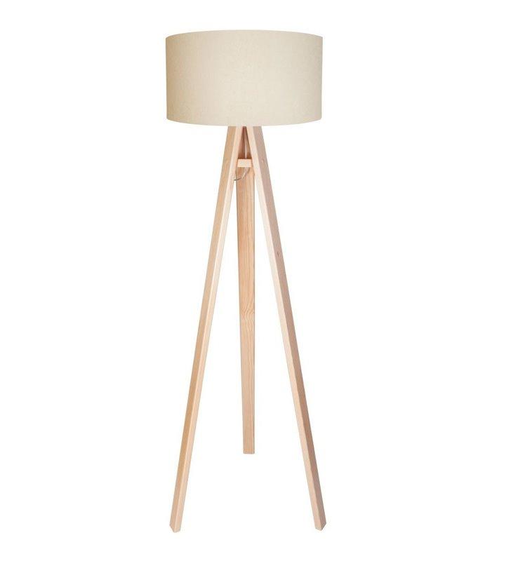 Lampa podłogowa Verbena Biała 3 drewniane nogi kremowy abażur z białym środkiem
