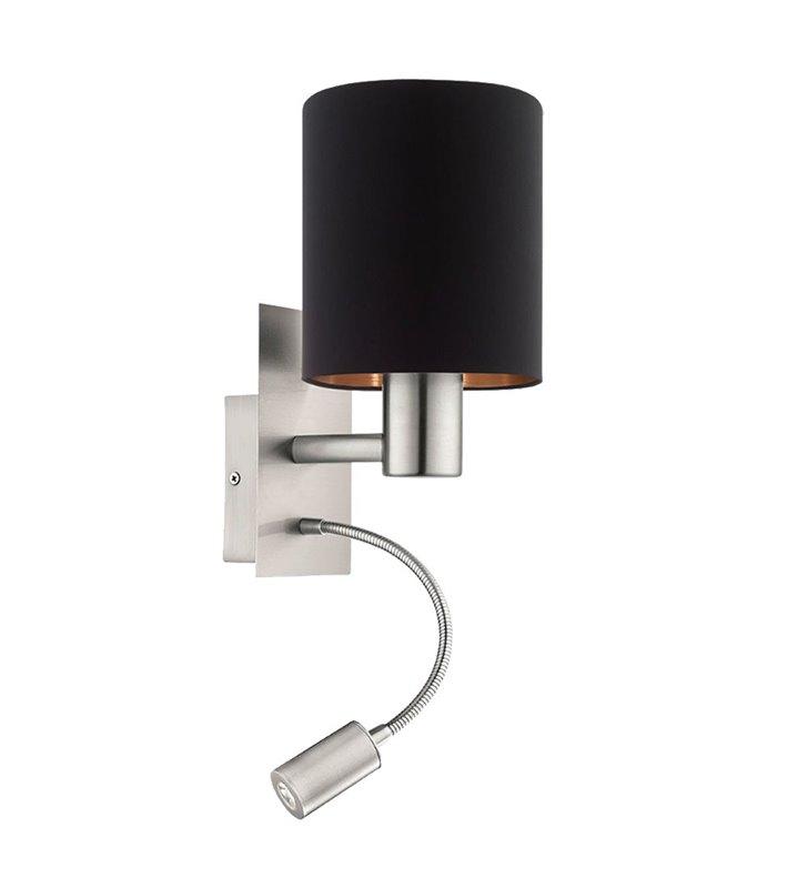 Kinkiet Pasteri abażur czarny wewnątrz miedziany z dodatkową lampą LED
