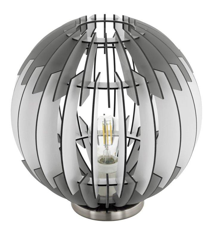 Lampa stołowa Olmero z okrągłym drewnianym kloszem w kolorze szaro białym do sypialni