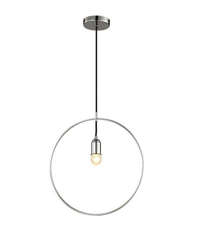 Lampa wisząca Krug Chrom metalowa minimalistyczna obręcz średnica 40cm
