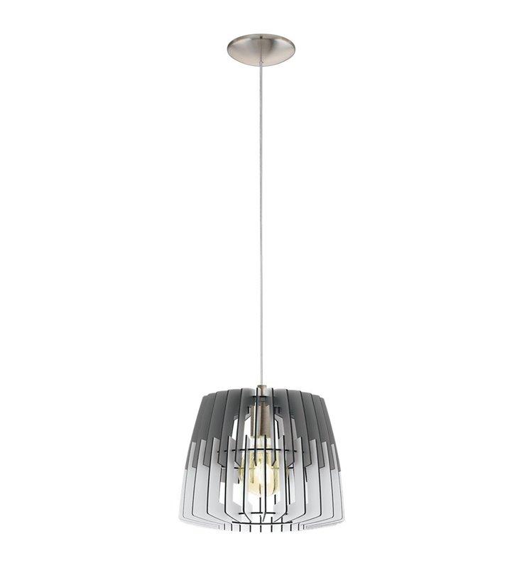 Drewniana lampa wisząca Artana z szaro-białym kloszem do salonu sypialni jadalni nad stół