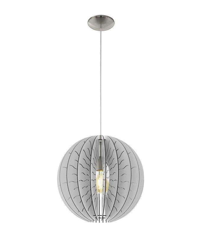 Lampa wisząca Fabessa z drewnianym białym kloszem do salonu holu sypialni jadalni kuchni